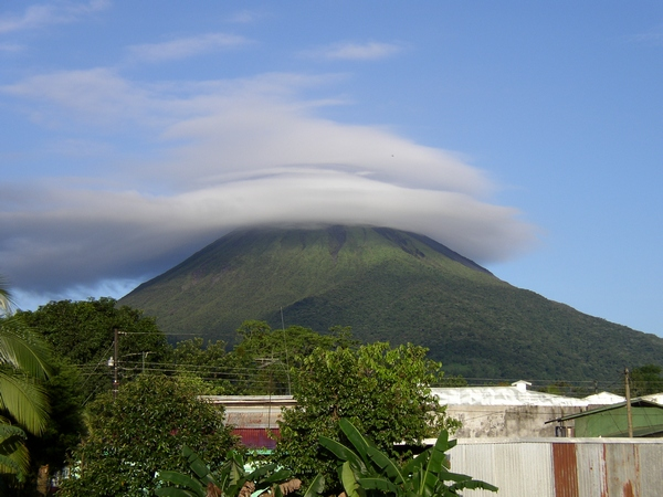 Clouded on top, Arenal volcano in Costa Rica