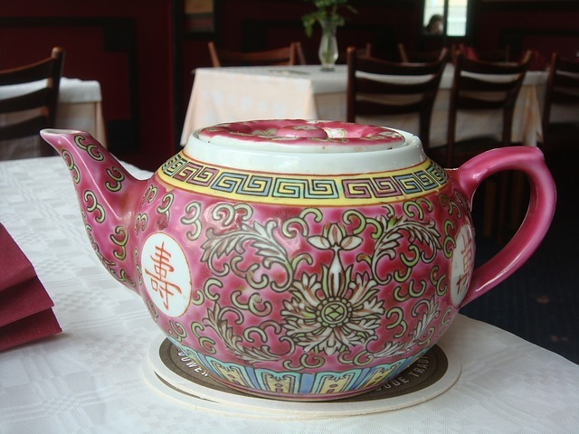 An old tea pot made of china