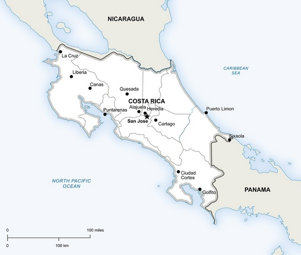 Geographical map of Costa Rica