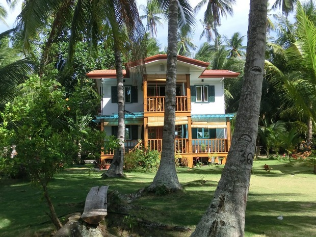 Two-storey home in the Philippines, among tall palm trees