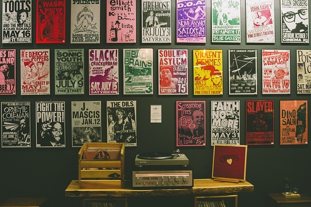 Music vinyl record covers displayed on the wall